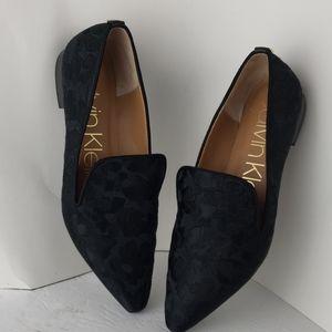 Calvin Klein Elin Satin Embroided Smoking Loafers